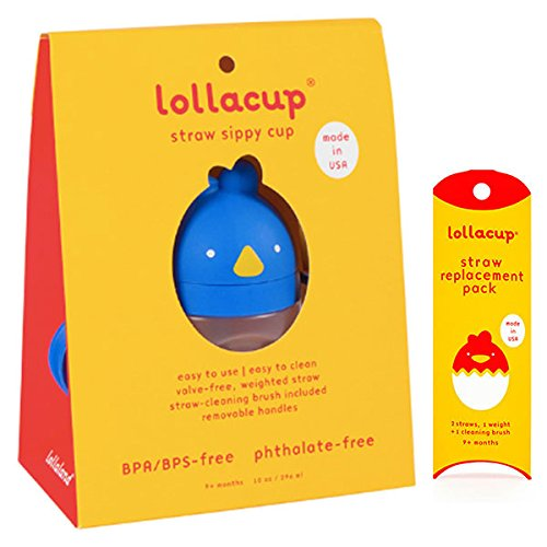 Lollaland Weighted Straw Sippy Cup   Lollacup - Sippy Cups for Toddlers   Shark Tank Products - Best Sippy Cups for Baby Infant & Toddler Ages   Lollacup Blue w/Straw Replacement Pack