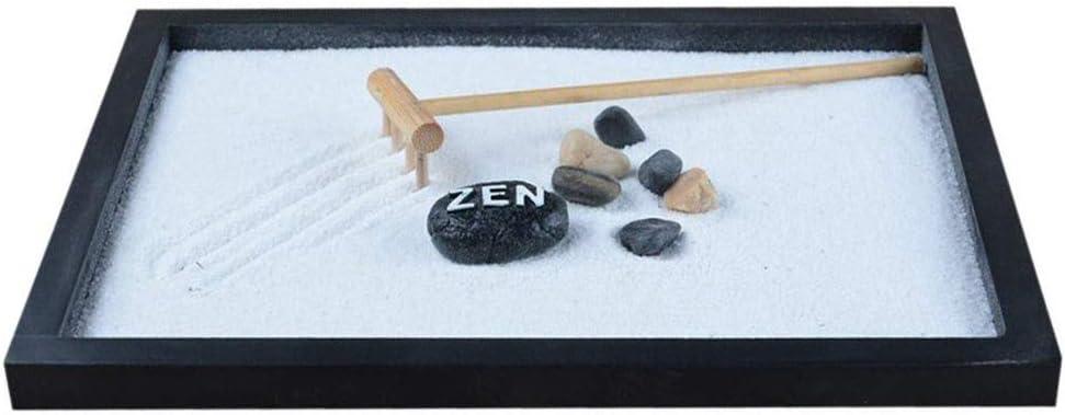 Cikuso Japonés Karesansui Mini Mesa Zen Jardín con Guijarro Traqueteo y Decoración de Arena Oficina de Casa - 21.5 X 17 X 2.6 Cm: Amazon.es: Hogar