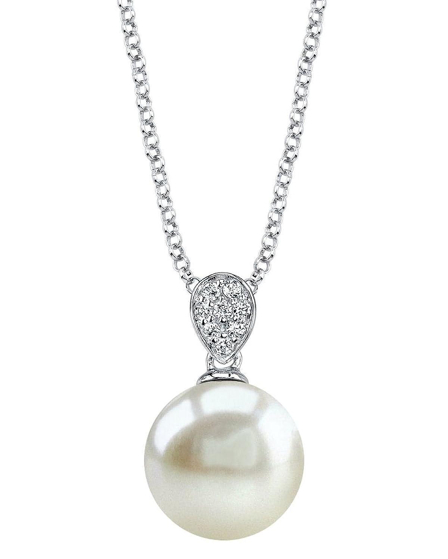8mm White Freshwater Cultured Pearl & Crystal Belinda Pendant