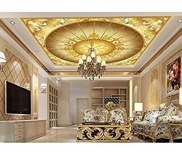 Xzfddn Dekoration 3d Decke Wandbilder Tapete European Golden Flower