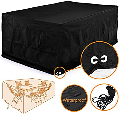 Fellie Cover 126-Inch Rectangular Patio Table and Chair Set Cover, Durable and Water Resistant Outdoor Furniture Cover, X-Large