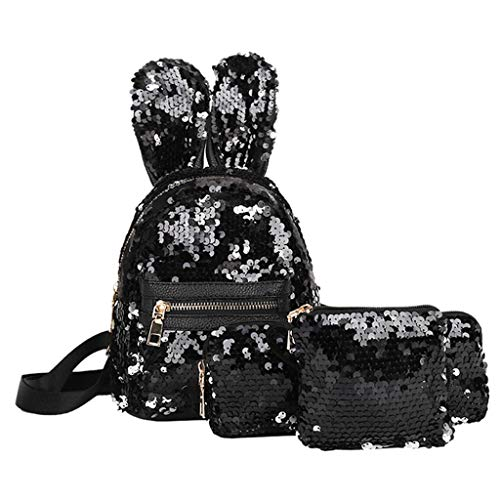 Bambus ♛ 3Pcs Mermaid Sequin Backpacks Reversible Sequins Magic Glittering Rabbit Ears School Bags Pen Bag Clutch for Girls Kids Daughter