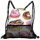 jelly bean dirt - Chocolate Jelly Beans Donuts Drawstring Backpack Bags Sport Gym Treat Bag