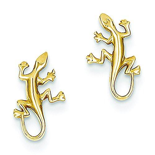 (14K Yellow Gold Gecko Stud Post Earrings )