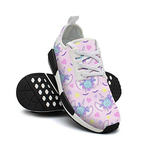 Flowers Nana Purple Gym Mesh FAAERD Head Original Shoes Fashion Breathable Unicorn Womens Mom Lightweight Sneakers AqwR0p