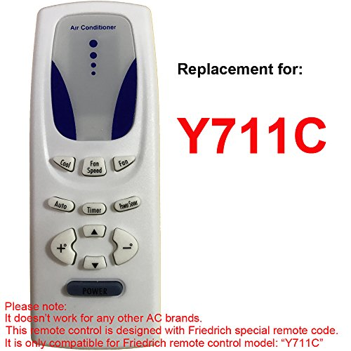 Replacement for FRIEDRICH Air Conditioner Remote Control Model Number Y711C Works for CP14E10 CP14N10 CP15F10 CP18C30 CP18E30 CP18F30 CP18N30 CP24E30 CP24F30 CP24N30 by Generic