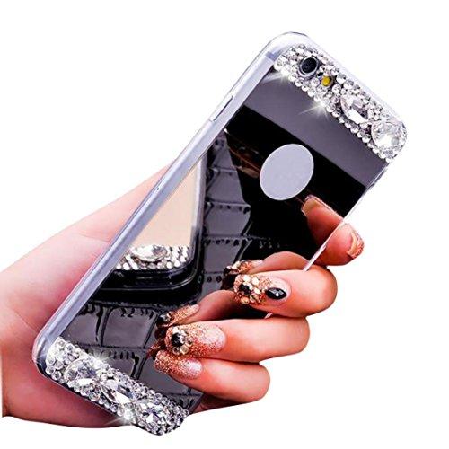 For Iphone 6/6-ere Pluss 5.5inch Sunfei ®bling Diamant Speil Tilbake Tpu Myk Veske Dekke Svart