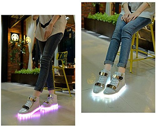 [Present:kleines Handtuch]JUNGLEST® 7 Farben LED Leuchtend Aufladen USB Aufladen Sport Schuhe Paare Schuhe Herbst und Winter Sport Schuhe Freizeitschuhe Leucht Laufende Unise Weiß