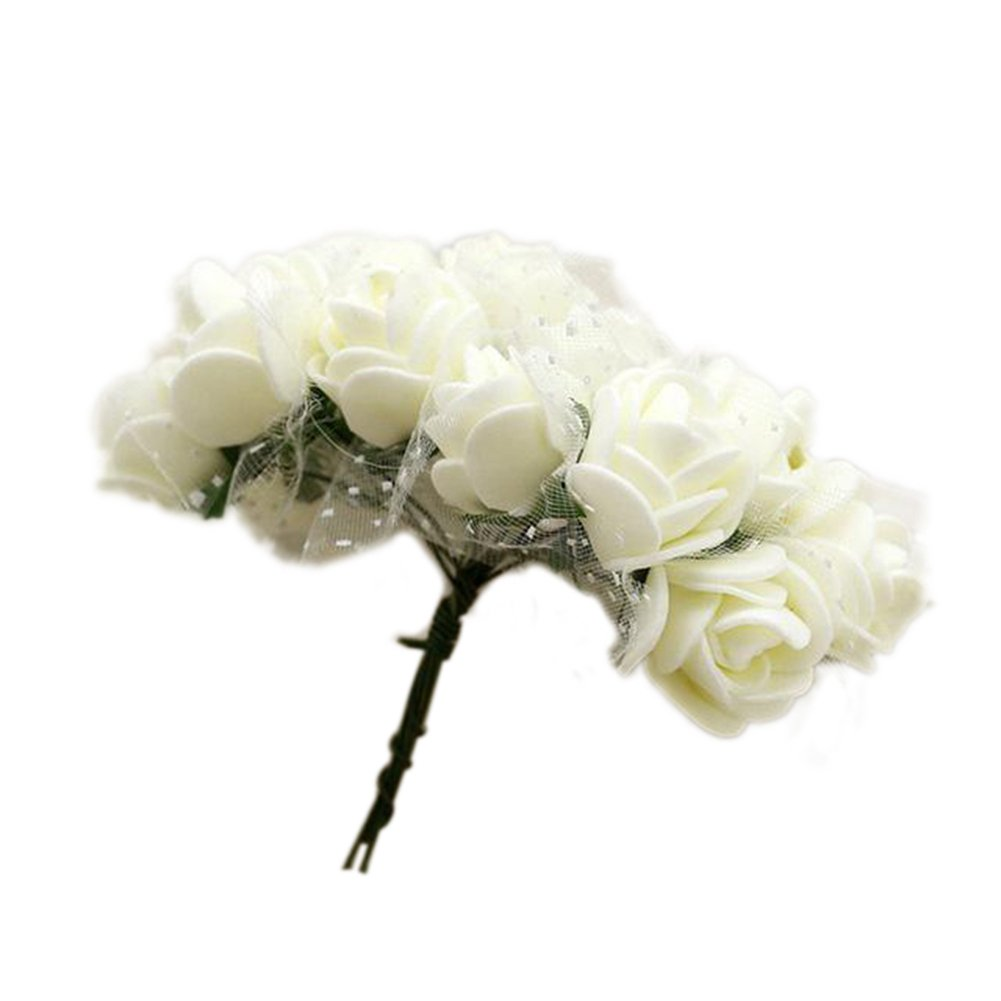 2.5cm フォーム 人工 手首 花 造花 バラ ブーケ ウェディング パーティー 装飾 bjlongyi bjlong B07H8YG5FD ホワイト(Milk White)