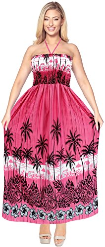 La Leela Women's Casual Aloha Car Palm Tree Bamboo Tree Coconut Tree Hibiscus Flower Leaf Floral, Pink, One - Pink Flowers Trees