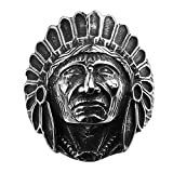 AGOKO Mens Old Mayan Hunter Personality Retro Titanium Steel Ring