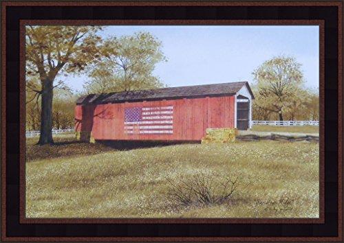 (Sassafras Ridge by Billy Jacobs 15x21 Covered Kissing Bridge Red Flag Americana Primitive Folk Art Print Framed Picture)