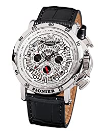 """Pionier - high quality automatic wrist watch Acapulco """"All Silver Leather"""" stainless steel with italian leather strap, two year warranty - 20 Jewels - Made in Germany"""