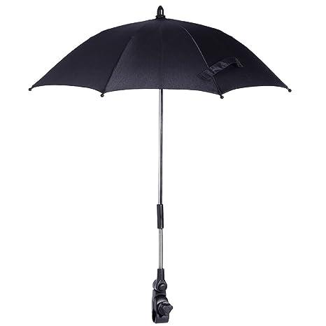 Paragua Sombrilla Parasol Negra para Carrito de Bebé Bicicleta con Pinza Protección de Sol Lluvia Manos