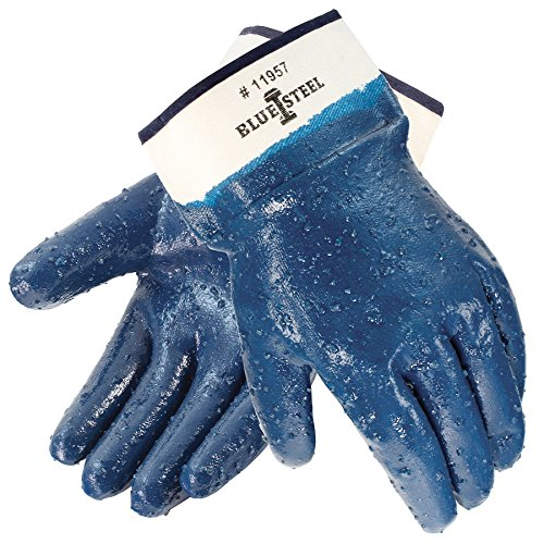 Galeton 11957-XL Blue Steel Nitrile Coated Gloves Rough Finish, Safety Cuff, XL, Blue (Pack of 12) by Galeton (Image #1)
