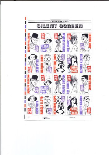 Stars of the Silent Screen, Half Sheet of 20 x 29-Cent Postage Stamps, USA 1994, Scott 2819-28