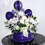 Purple Hat Vase with Purple and White Silk Flowers by PopArtBalloons