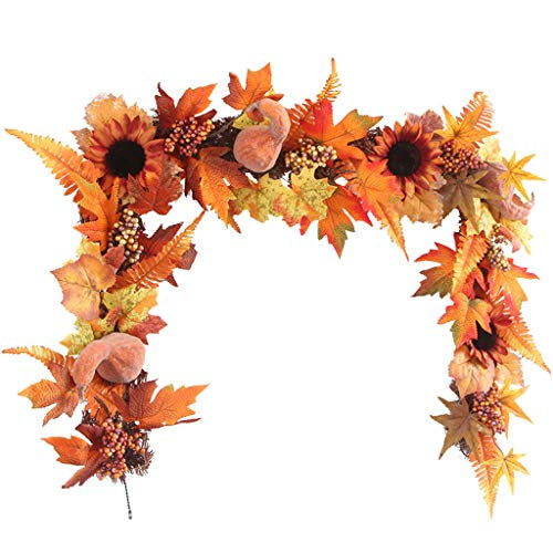 Halloween Party Event Description (Mayunn Pumpkin Maple Leaves Garland, 1.7m LEDs Lighted Fall Autumn Halloween Thanksgiving Decor for Party, Holiday Events, Home,)