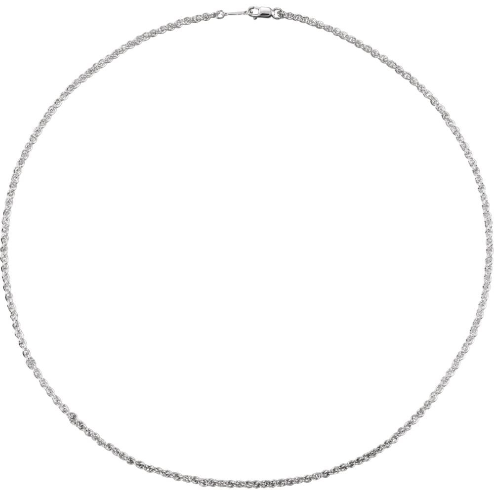 Saris and Things Sterling Silver Unisex 24 Polished Lobster Clasp 2 mm Wide Rope Chain