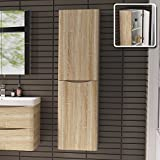 1400 mm Tall Light Oak Bathroom Furniture Cupboard Right Hand Cabinet Storage Unit by iBathUK