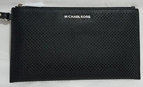 Michael Kors Women's Large Jet Set Travel Zip Leather Clutch Baguette - Black by Michael Kors