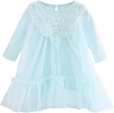 ASHOP Vestidos niña/ Vestido de Manga Larga de Encaje sólido Ropa ...