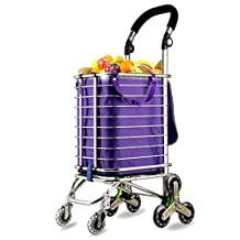 HCC& Trolley Dolly Climb the stairs Collapsible Portable Shopping Cart High capacity 120 Degree Rotation Handle Groceries car Rolling Swivel Wheels