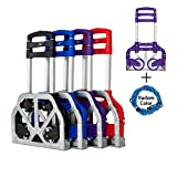 FCH Folding Hand Truck Light Weight Portable Folding Hand Trolley Cart Supports up to 165Lbs Capacity(Purple)