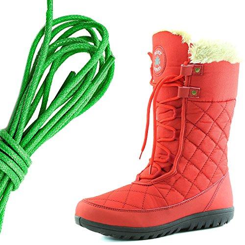 Dailyshoes Confort Des Femmes Bout Rond Mi-mollet Cheville Plat Haute Eskimo Fourrure Dhiver Bottes De Neige, Vert Rouge
