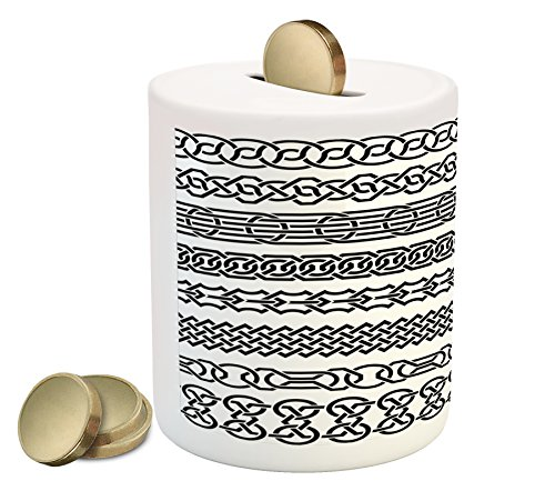 Horizontal Form (Irish Piggy Bank by Ambesonne, Vintage Borders in the Form of Celtic Classical Ornaments Horizontal Striped Pattern, Printed Ceramic Coin Bank Money Box for Cash Saving, Black White)