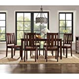 Solid Wood and Veneer Construction, Contemporary 7-Piece Dining Table Bundle Set, Clean Espresso Finish