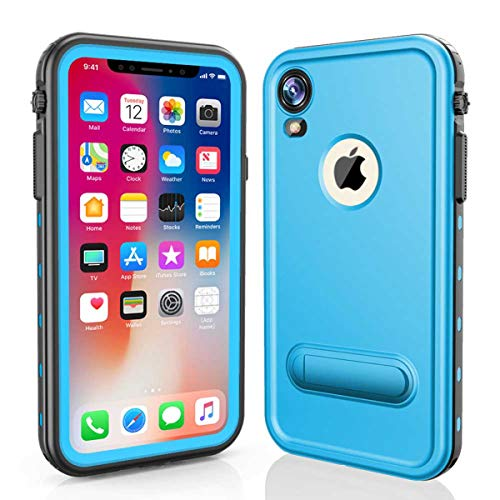 iPhone Xr Waterproof Case, FugouSell Full Body Rugged Shockproof Dirtproof IP68 Certified Waterproof Clear Case with Screen Protector for iPhone Xr (Light Blue) ()