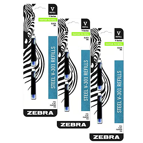 (Zebra V-301 Stainless Steel Fountain Pen Refill Cartridge, Black Ink, 6-Count)