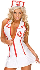 POLUL Womens V Neck Uniforms Cosplay Nightdress with Sexy Zipper Lingerie Temptation Teddy Temptation Chemise