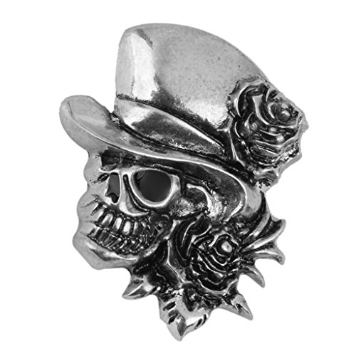 [Rose Skull Brooch Pin Decor for Halloween Party Favor Antique Silver] (Halloween Decor Online)