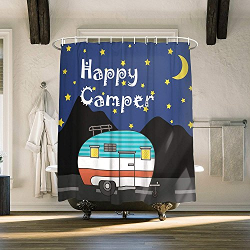 (Cloud Dream Retro Camping Shower Curtain,vintage travel trailer Decor,Bathroom Decor Sets with Hooks Polyester Fabric,48x72-Inch)