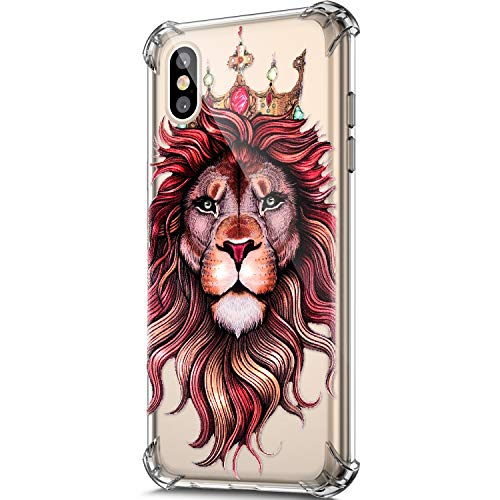 Price comparison product image ikasus Case for iphone XS / X, Clear Embossed Art Painted Pattern Design Soft & Flexible TPU Ultra-Thin Shockproof Transparent Girls Women TPU Case Cover for iphone XS / X Silicone Case, Lion