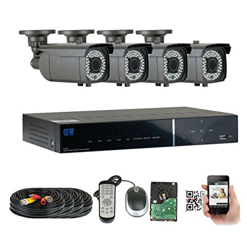GWSecurity 4CH400WHD 4 Channel DVR + 4 x 1200TVL (720P) Vari-Focal Zoom 180 feet IR Outdoor / Indoor Security Camera System with Pre-Installed 1TB Hard Drive