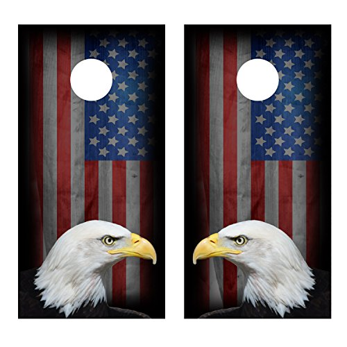 Eagle with American Flag CORNHOLE NONLAMINATED DECAL WRAP SET Decals Board Boards Vinyl Sticker Stickers Bean Bag Game Wraps Vinyl Graphic Image Corn Hole