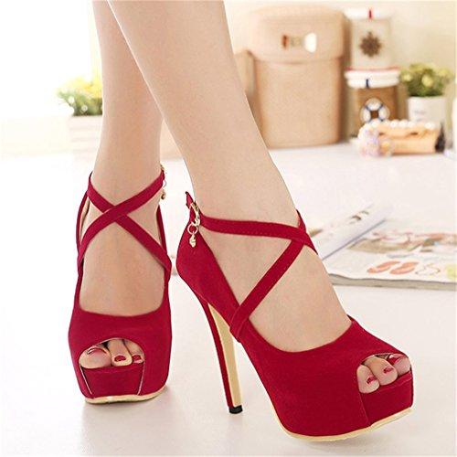 Shoes Fish Talons Pompes Single Rhinestone Rouge Thin Boca Women Hauts Sexy Buckle Xianshu Heel 1P7zYxqY