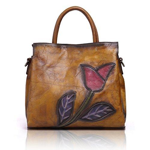 APHISON Designer Soft Leather Totes Handbags for Women, Ladies Satchels Shoulder Bags (BROWN) (Designer Real Clothes)