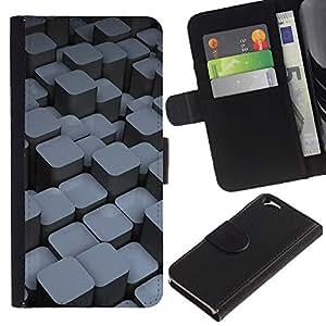 KLONGSHOP // Tirón de la caja Cartera de cuero con ranuras para tarjetas - Bloques - Apple Iphone 6 //