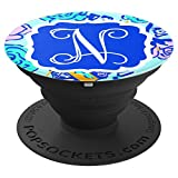 Personalized Pop Socket N Initial Blue Pink Rose Accessories - PopSockets Grip and Stand for Phones and Tablets