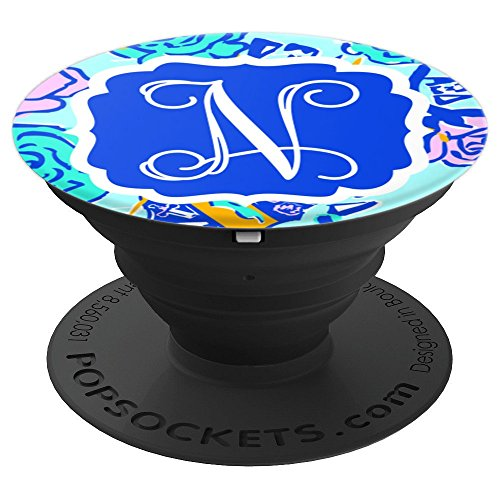 Personalized Pop Socket N Initial Blue Pink Rose Accessories - PopSockets Grip and Stand for Phones and Tablets by Monogram Phone Grips by Puddle Kickers