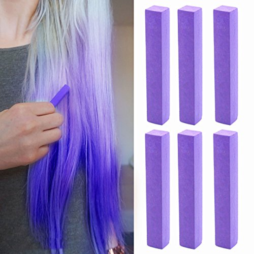 Plum Hair Dye | Burgundy Indigo Vibrant Hair Color | MISTERY Set of 6 with Shades of Aubergine Purple Set of 6 Temporary Vibrant Hair Color | Color your Hair Dark Purple in seconds with temporary HairChalk