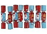 Iconikal 6.5-inch Mini Crackers 8-Pack (Blue Santa, Red Reindeer)