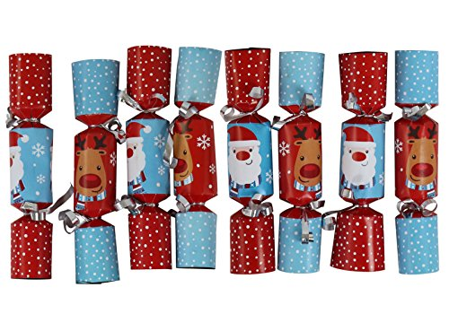 Iconikal 6.5-inch Mini Crackers 8-Pack (Blue Santa, Red Reindeer)