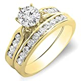 1.00 Carat (ctw) 18K Yellow Gold Round Diamond Ladies Bridal Engagement Ring Set 1 CT (Size 6)