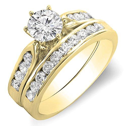(Dazzlingrock Collection 1.00 Carat (ctw) 18K Round Diamond Ladies Bridal Engagement Ring Set 1 CT, Yellow Gold, Size)