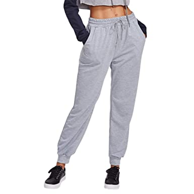 f2f586b0b0bfde SOLY HUX Damen Sweatpants Sweathose Casual Pants Jogginghose Trainingshose  Sporthosen mit Korderzug Grau S